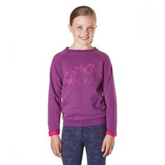 The Cherrybank from Harry Hall is a relaxed fit junior sweatshirt featuring a fun pony print. Made from French terry fabric. How To Roll Sleeves, French Terry, Graphic Sweatshirt, Purple, Sweatshirts, Fabric, Sweaters, Collection, Search