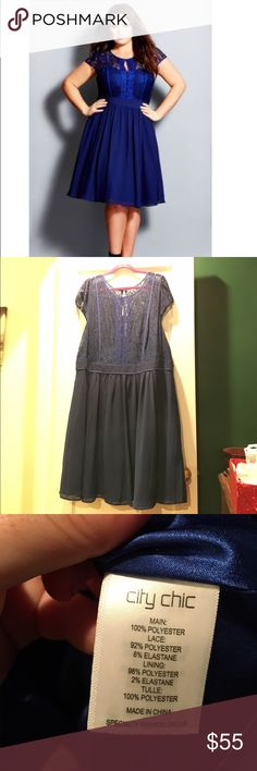 HOST PICK🎉Stunning romantic lace dress  CityChic Worn once for my nursing school pinning ceremony. Beautiful rich blue lace romantic dress by city chic. Round illusion neckline, sheer lace overlay on the bodice with front keyhole and contrast binding, capped sleeves, concealed zipper, fitted waistband and beautiful lined and flared skirt. Size XL which is a size 22 in US sizing City Chic Dresses Midi