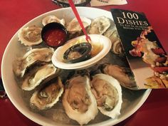 """Meg's #16 or #85 on the countdown of 100 Dishes To Eat In Alabama Before You Die-Wintzell's Oyster House, Mobile, AL. """"Fried,stewed or nude""""  I like em nude!"""