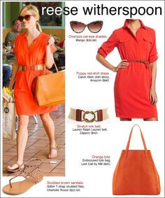 reese witherspoon orange dress, cinched at waist, flats. Love the colours in her design.