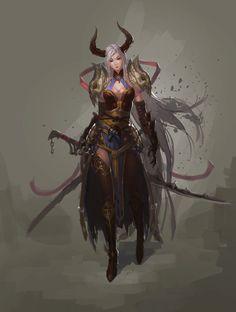 Tiefling swordgirl