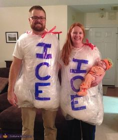 Christy: My husband, Trent, came up with the idea for him, myself, and our daughter Emma (her first Halloween.) We made the ice bags with plastics leaf bags, and balled up...