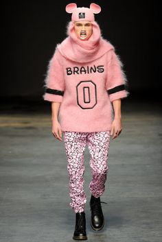 BOBBY ABLEY: LCM is on fire! With this collection by Bobby Abley high on my favourites, with a play on Disney and introduction to pink, Menswear is really heating up for AW1415! Women watch out!   #LCM #menswear #fashion #trend #colour #disney #London #bobbyabley #pink #AW1415  Image: Yannis Vlamos / Indigitalimages.com