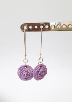 Purple Fimo flower earrings by DelabudCreations on Etsy