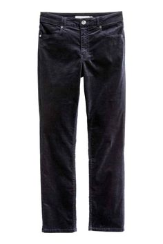 Velvet trousers: Trousers in stretch cotton velvet with a regular waist, front…
