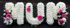 MUM letters MUM in cerise pink and white flowers Basket Flower Arrangements, Floral Arrangements, Funeral Tributes, Funeral Planning, Cerise Pink, Flower Letters, Pink And White Flowers, Funeral Flowers, Floral Designs