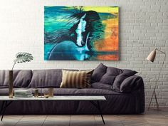 "Spirit Horse Stretched Canvas Art Print  TAKE YOUR CANVAS WALL ART TO THE NEXT LEVEL! This is your chance to acquire a print of this stunning artwork.  Now available as a premium quality canvas print.  Imagine your living space or loft decorated in these colors and this wall art as a center-piece!  Ships to the USA & Canada ONLY. Printed in Colorado USA Original artwork; Acrylic on Hardboard, 24"" x 36"", by Carol Walden Premium artist-grade stretched canvas Stretched Canvas Prints, Canvas Art Prints, Canvas Wall Art, Colorado Usa, Original Artwork, Living Spaces, Centerpieces, My Arts, Ships"