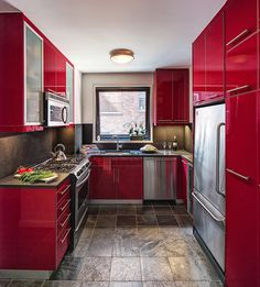 Upper East Side Modern - contemporary - kitchen - new york - Emery Design Associates, LLC Kitchen Cabinets Painted Before And After, Red Kitchen Cabinets, Red Kitchen Decor, Kitchen Cabinet Design, Painting Kitchen Cabinets, Interior Design Kitchen, Kitchen Designs, Kitchen Ideas, Houzz