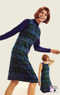 1960s fashion galleries blue green plaid winter wool shift dress turtleneck knee length sleeveless hairstyle model magazine 1966-2-mt-0009.jpg
