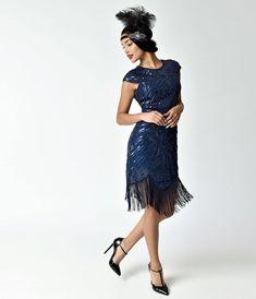 Unique Vintage 1920s Style Navy Blue Cap Sleeve Astrid Short Flapper Dress