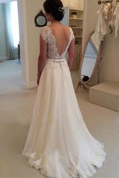 A-line Lace Top Backless Long Beach Wedding Dress Ball Gowns-Pgmdress