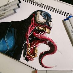 """I bring you my 8 hour realistic portrait of Spider-Man's arch nemesis Venom! Done using #copic markers.#copicau #Venom #SpiderManHomecoming"""