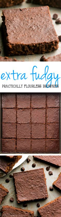 These are the BEST {nearly} flourless brownies! Rich, fudgy & just 74 calories! Super easy too!