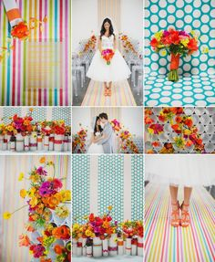 The colors I want! ... not necessarily the pattern but thats okay :) Modern wedding ideas bright flowers bold patterns 2