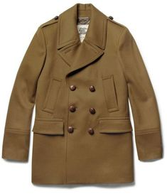 Military inspired dark tan peacoat from Burberry London Men's Coats And Jackets, Outdoor Outfit, Sweater Jacket, Menswear, Man Shop, Mens Fashion, Wool Blend, Burberry, How To Wear
