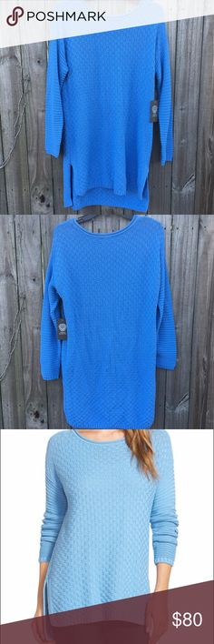 VINCE CAMUTO Rib Stitch Blue Sweater Sz M Horizontally ribbed sleeves that contrast with the basket-woven front and back. Straight high/low hem. Rolled crewneck. Long sleeves. Cotton and and acrylic.   ⚡️Fast Shipper⚡️ 💰15% Off 3+ Items💰 🍀Offers are Welcomed Vince Camuto Sweaters Crew & Scoop Necks