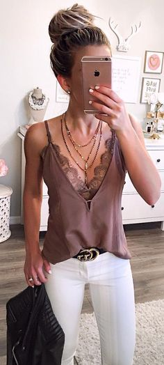 love the feminine touch of lace in this cami, leather & lace ensemble