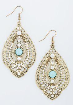 Glitz is It Earrings - Blue, Solid, Beads, Boho, Festival, Gold, White, Rhinestones, Wedding, Bridesmaid, Bride, Statement
