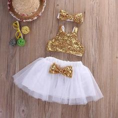 Infant Baby Girl Sequins Tank Tops+Tutu Skirts Headband Party Outfit #babytanktops