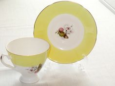 #VogueTeam #EtsyGift #EtsyRetwt Fine Bone China Yellow Cup and Saucer by Elizabeth Han bone china tea cup and saucer  timelesspeony