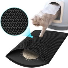LITMAT™ Cat Litter Mat – TugNPup Cat Litter Mat, Cat Mat, Litter Box, All Types Of Cats, Urine Stains, Honeycomb Pattern, Pet Supplies, Things That Bounce, Your Pet