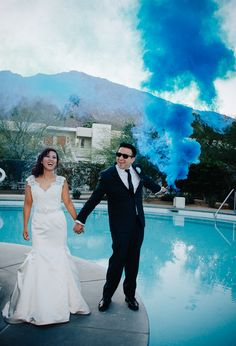 Modern Diy Beer lovers wedding at the Ace Hotel in Palm Springs, CA. Portraits with Smoke Grenades. See more at http://www.mytwinlensphotography.com