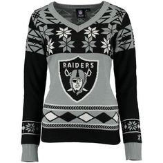 Oakland Raiders Klew Women's Big Logo V-Neck Ugly Sweater - Black/Silver
