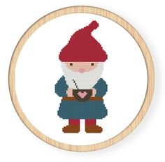 Buy 4 get 1 free ,Buy 6 get 2 free,Cross stitch pattern, Cross-StitchPDF,Gnome,zxxc0007. $4.00, via Etsy.