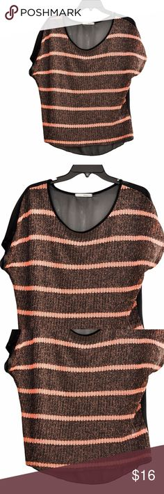 """MANGO TREE WOMEN'S WEAVE TOP size M NEW Short Sleeve, Striped, Brown & Black. This item was a SAMPLE from the Design Store.  NO SHOWS THE SIZE OR MATERIAL LABEL  Measurements approx.  Length (from shoulder) = 25"""" armpit to armpit =  23.5"""" Mango Tops Tank Tops"""