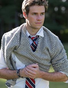 wool sweaters, neckties, oxford shirts / gray, navy blue, red, white