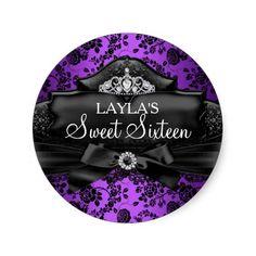 Pretty Tiara & Bow Purple Sweet 16 Sticker