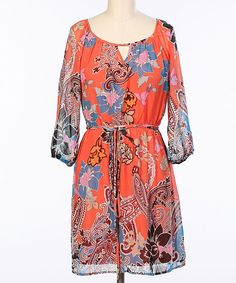 Love this Hello Miss Coral Paisley Blouson Dress by Hello Miss on #zulily! #zulilyfinds