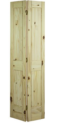 2 Panel Square Top V-Groove Knotty Pine Bifold Door