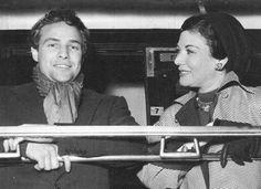 Marlon Brando and Egyptian film star Rakia Ibrahim on the train from Paris, 1953