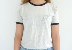PLEASE READ SIZE GUIDE CAREFULLY BEFORE ORDERING. < The model in the picture wore light grey ringer tee, size s. Her chest size is 31 (79 cm)