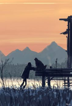 I just came by to say HI. by PascalCampion on DeviantArt Pascal Campion, Smell Of Rain, Lion Love, Couple Illustration, Say Hi, American Artists, Cool Art, Deviantart, Sunset