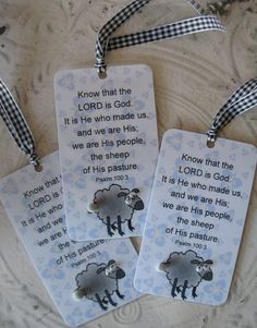 Little Lamb Bookmark, Christian Scripture - Laminated, accented black and white gingham ribbon - Th Baby Shower Favors, Baby Shower Parties, Baby Boy Shower, Baby Showers, Baby Girl Baptism, Baby Christening, Christian Baby Shower, Christening Party Favors, Scrapbook Box