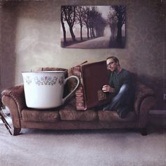 """Joel Robison's """"You can never get a cup of tea big enough or a book long enough to suit me."""" -- C.S. Lewis ($25, 8x8 print: http://www.etsy.com/listing/96971814/a-novel-idea)"""