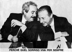 Giovanni Falcone and Paolo Borsellino. The picture of both assassinated judges became an iconic symbol of the struggle against Cosa Nostra. It is often used on posters and articles commemorating the fight against the Mafia.