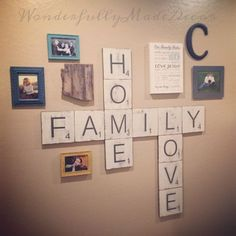Large Scrabble Tiles for the wall . Home by WonderfullyMadeDecor Scrabble Tile Wall Art, Primitive Bedroom, Picture Tiles, Tile Crafts, Theme Color, Home And Deco, Home Projects, Farmhouse Decor, Living Room Decor