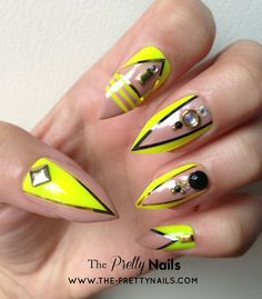 Neon x Nude x Black x Studs False Nail Set
