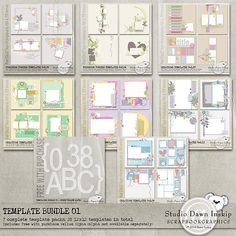 Template Bundle 01 (incl FWP Vellum Alpha... not really free! This bundle is more expensive than her other ones) 28 12x12 templates $22.40