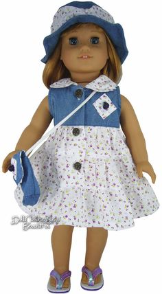Adorable Denim Bodice Dress + Hat + Purse for American Girl Doll Clothes Sewing Doll Clothes, American Doll Clothes, Girl Doll Clothes, Girl Dolls, American Girl Crochet, American Girl Accessories, Doll Dress Patterns, Doll Costume, Kids Fashion