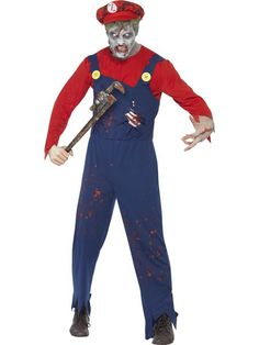 You can buy a Men's Zombie Plumber Costume for Halloween from the Halloween Spot. This red & blue costume includes Top, Dungarees with Latex Ribcage & Hat. Blue Costumes, Adult Costumes, Zombie Halloween Costumes, Halloween Fancy Dress, Funny Halloween, Happy Halloween, Zombies, Make Up, Trousers