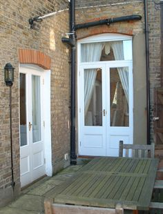 Back doors - victorian terrace Victorian Patio Doors, Victorian Terrace House, External French Doors, External Doors, Double Doors Interior, Interior Barn Doors, Kitchen Door Designs, Kitchen Doors, Kitchen Ideas