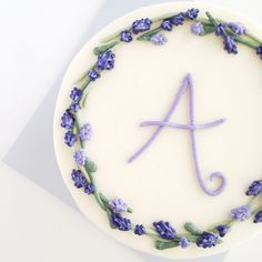 Buttercream Lavender Wreath — Eat Cake Be Merry - Custom Cakes For Merry Occassions Pretty Birthday Cakes, Pretty Cakes, Beautiful Cakes, Cake Decorating Designs, Cake Decorating Techniques, Simple Cake Decorating, Birthday Cake Decorating, Mini Cakes, Cupcake Cakes