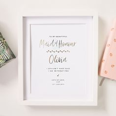 Personalised 'Maid Of Honour' Wedding Foil Print by Lily Rose Co., the perfect gift for Explore more unique gifts in our curated marketplace. Lily Wedding, Foil Art, Wedding Prints, Gold Foil Print, Rose Gold Foil, Maid Of Honor, Anniversary Gifts, Personalized Gifts, Unique Gifts