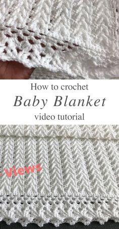 Crochet Baby Blanket Free Pattern, Easy Crochet Blanket, Crochet Stitches Patterns, Baby Afghan Patterns, Stitch Patterns, Baby Blankets To Crochet, Crocheted Baby Afghans, Diaper Covers, Easy Video