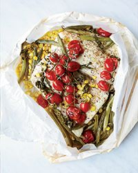 Halibut in Parchment with Corn and Tomatoes | Food & Wine