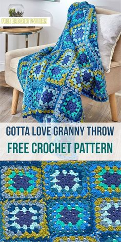 Choose these wonderful cool, blue shades or any hues that tickle your fancy.The crochet granny squarenever goes out of style and adapts to modern or more eclectic decor. Instructions are written for joining-as-you-go while doing the last round.Link for free pattern is below! Skill Level:Intermediate,Craft:Crochet,Designed by:Katherine Eng, Gotta Love Granny Throw– Click forfree pattern